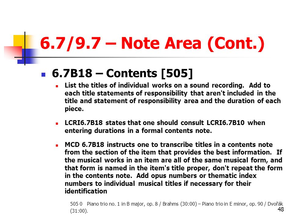 6.7/9.7 – Note Area (Cont.) 6.7B18 – Contents [505]